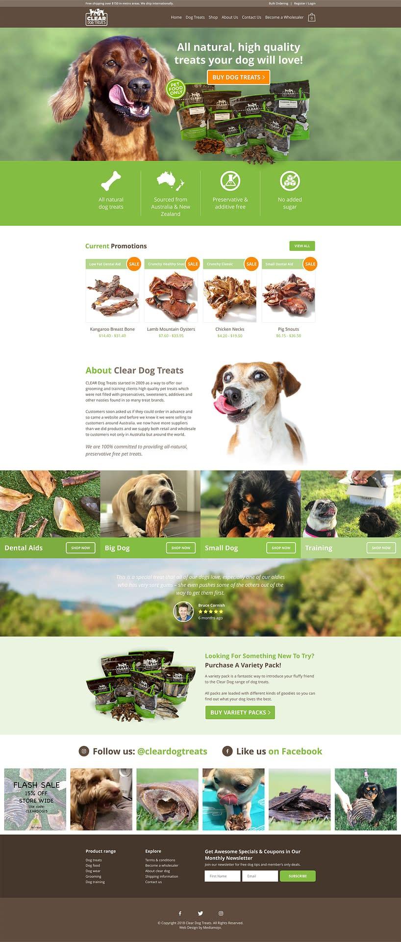 Clear dog treats website design
