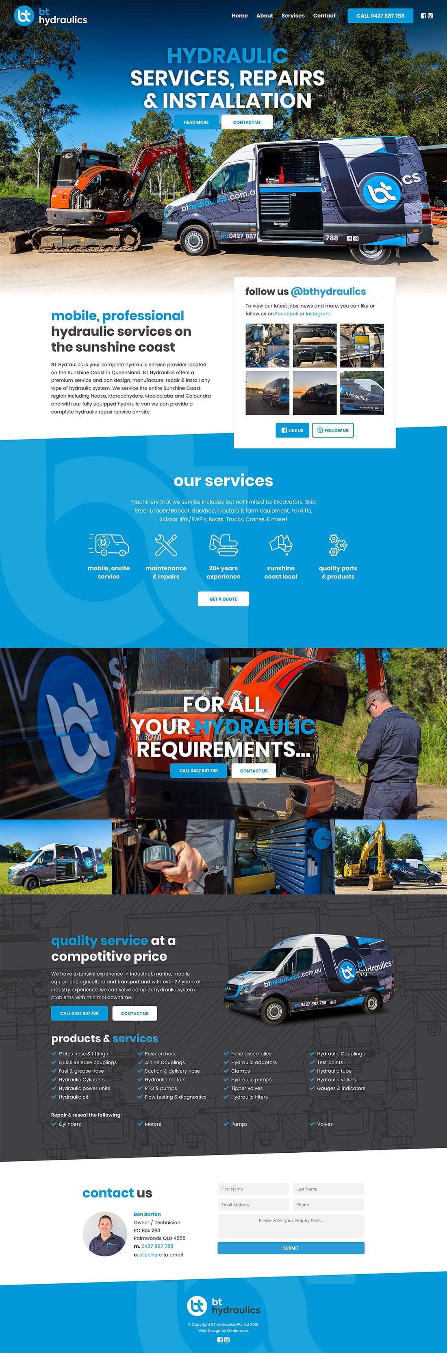 BT Hydraulics Website Design