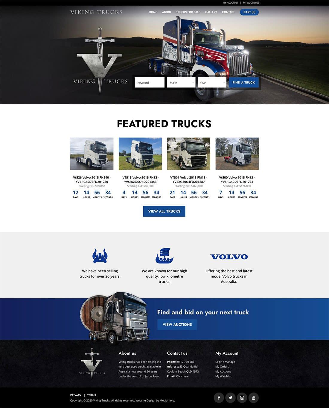 Viking Trucks website design