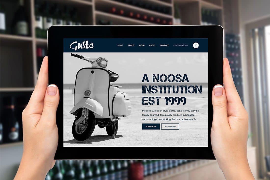 Gusto Noosa tablet website