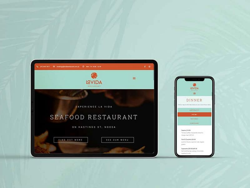 La Vida Restaurant website design
