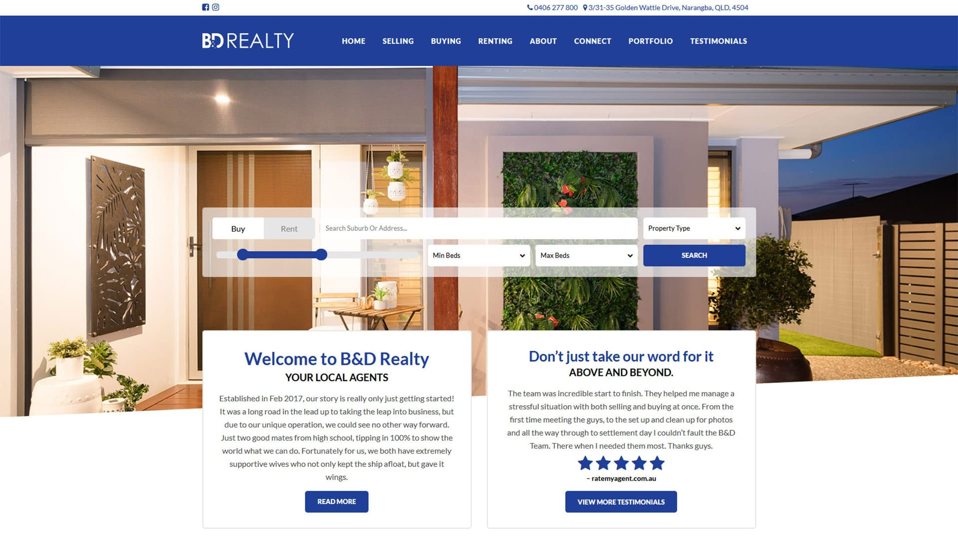 B&D Realty custom real estate website