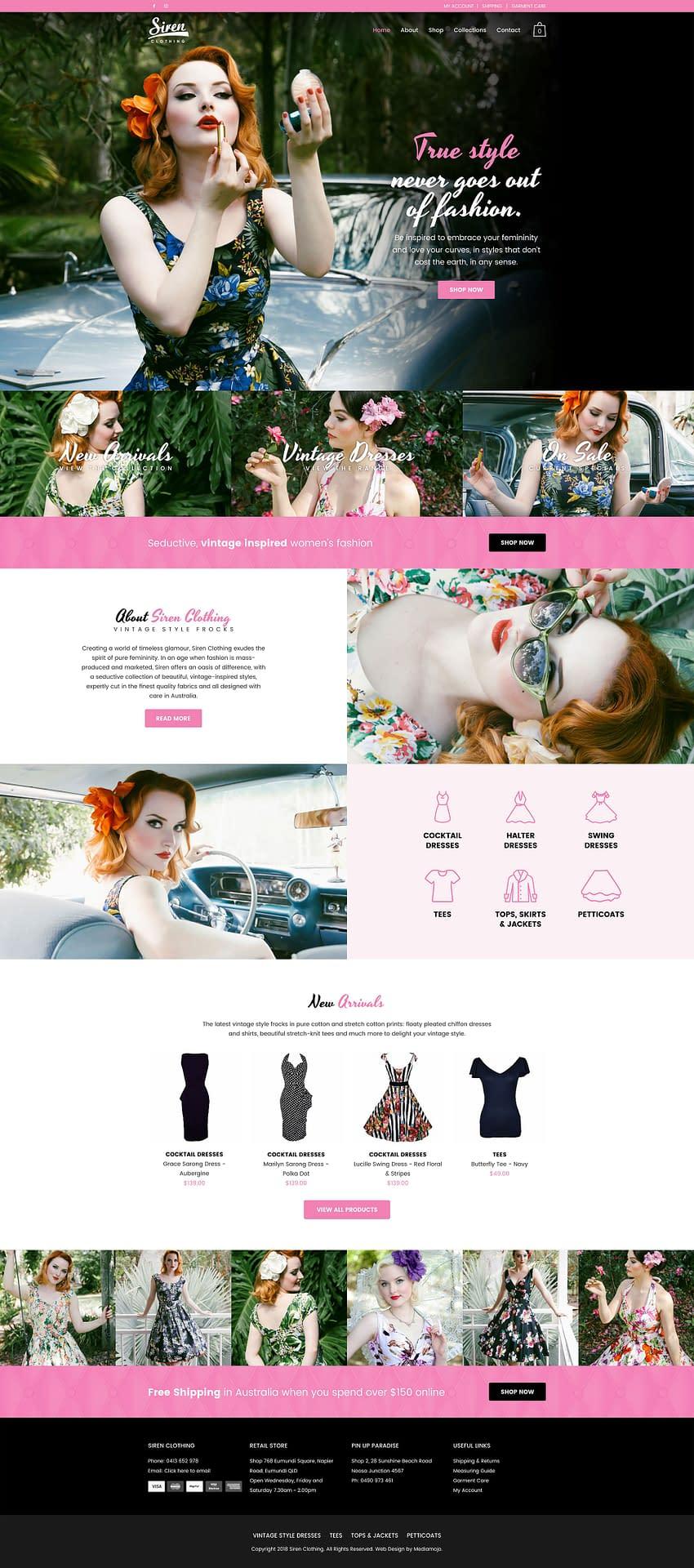 Siren clothing website design