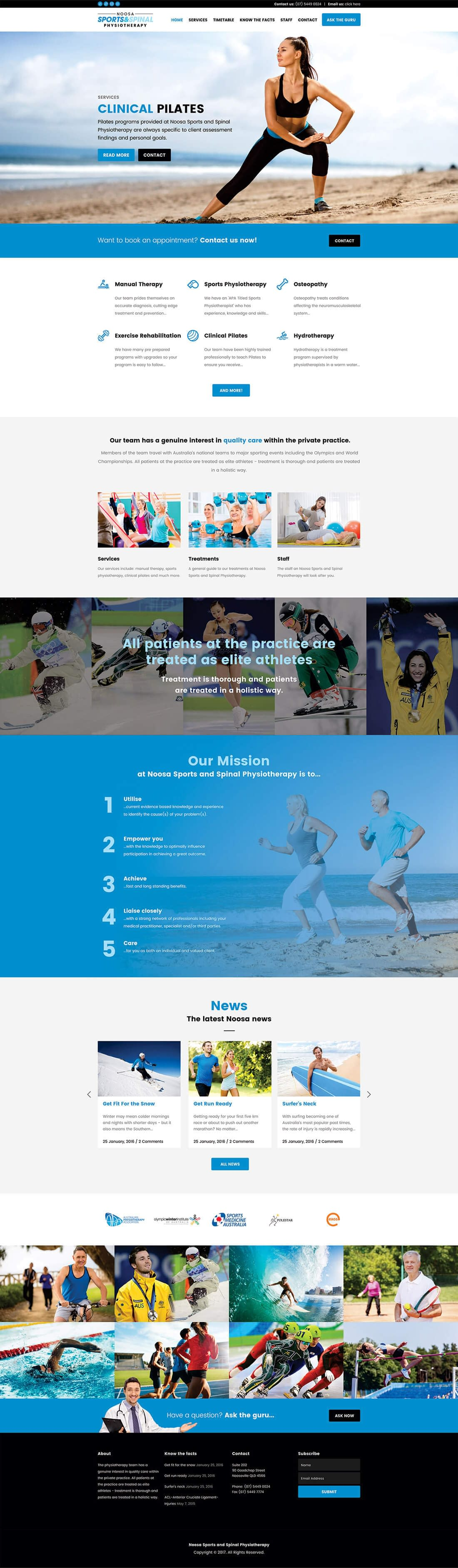 Noosa sports and spinal physiotherapy website home page