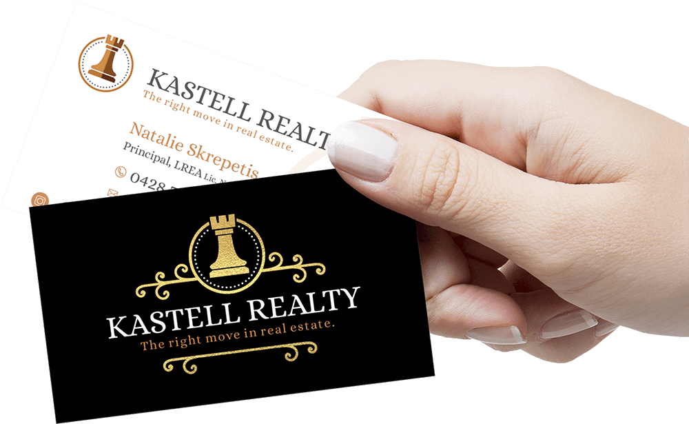 Kastell Realty gold foil business card Graphic Design Noosa