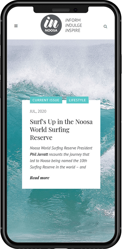 IN Noosa Magazine website on mobile