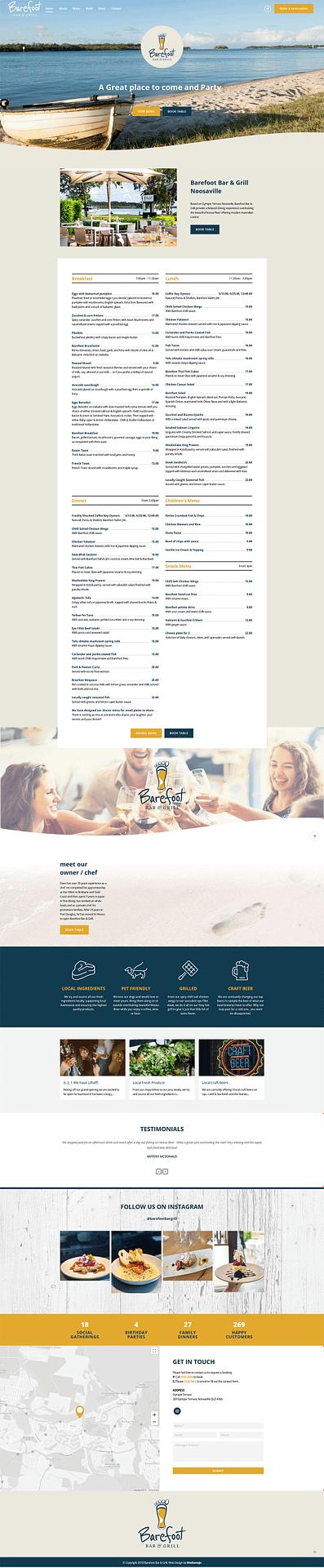 Barefoot Bar & Grill website design