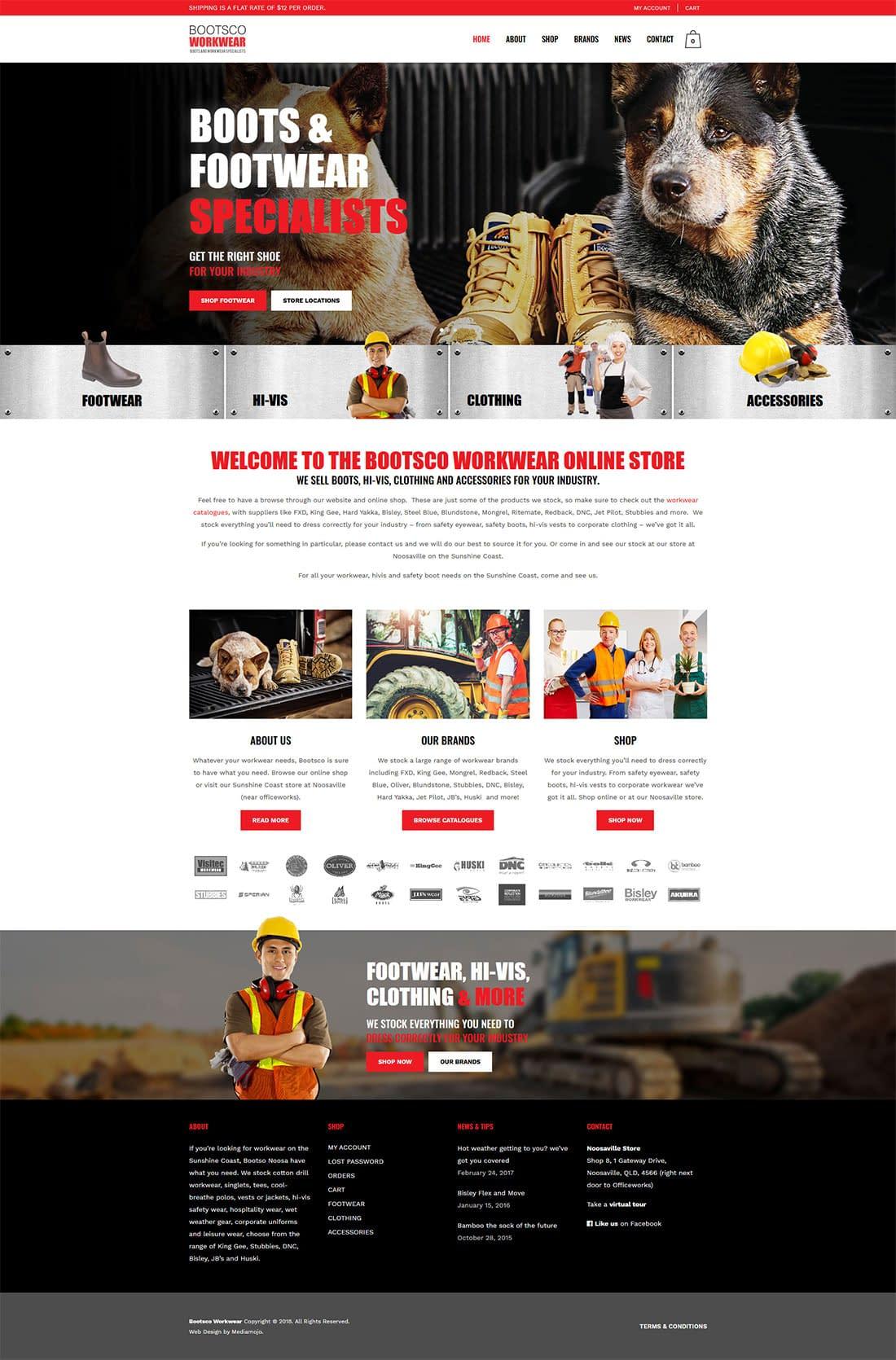 Bootsco workwear ecommerce website