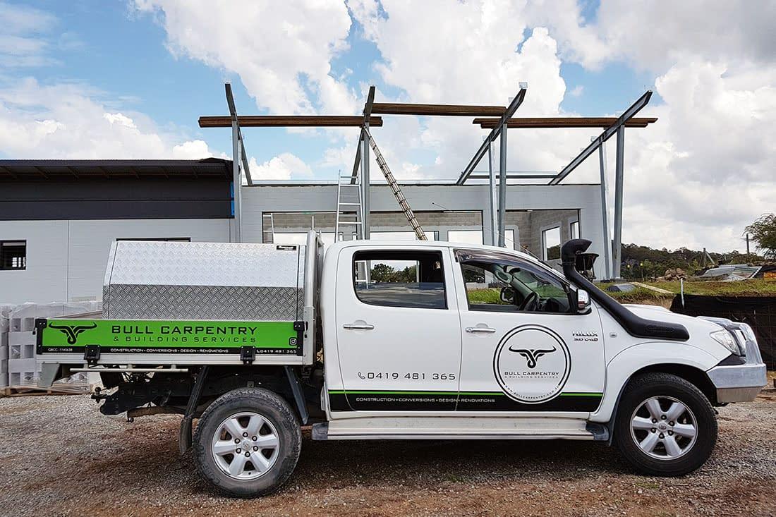 Bull Carpentry vehicle signage