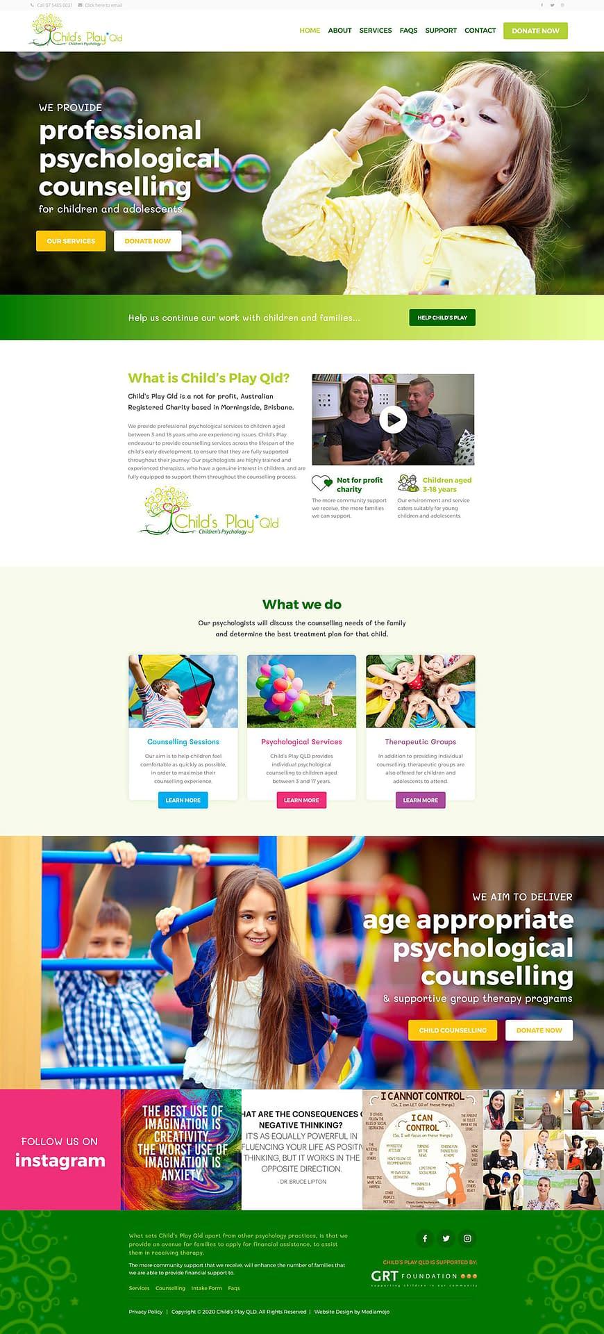 Child's Play Qld website design