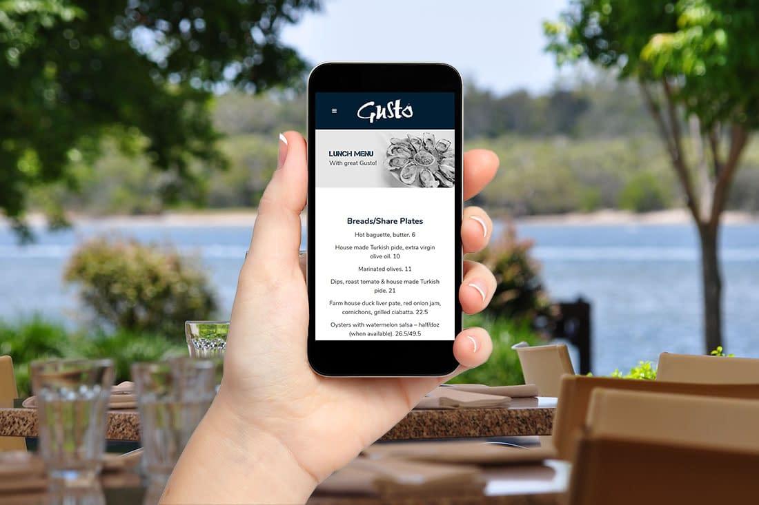 Gusto Noosa mobile website