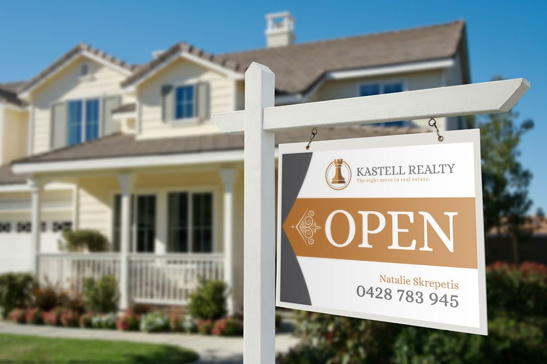 Kastell Realty open home sign